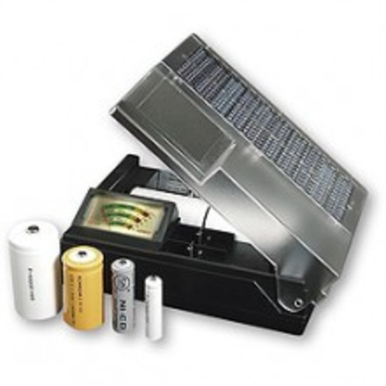 Solar Battery Meter : Solar battery charger with meter for aaa aa c and d